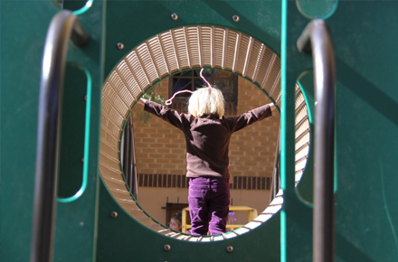 playing on the playground at preschool